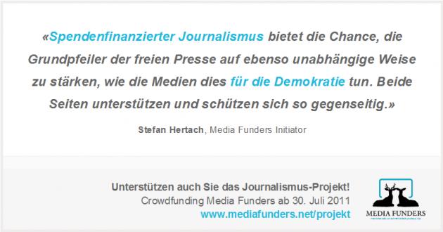 Jetzt Media Funders unterstützen und Crowdfunding im Journalismus vorwärts bringen!